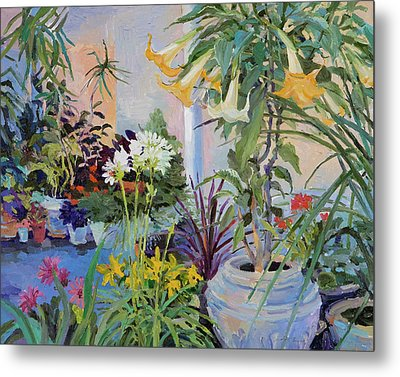 Patio With Flowers Metal Print