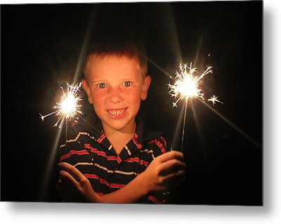 Metal Print featuring the photograph Patriotic Boy by Kelly Hazel