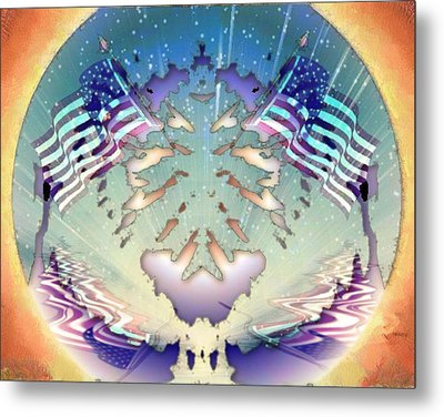 Metal Print featuring the painting Patriotic Reflections by Mario Carini