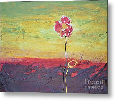 Paw Print Flower Metal Print by Barbara Tibbets