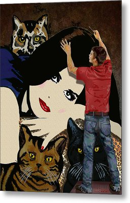 Metal Print featuring the painting Paxton Painting Pussy by Jann Paxton