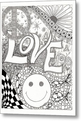 Peace Love And Happiness Metal Print by Paula Dickerhoff