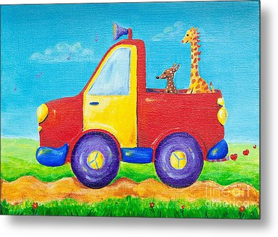 Peace Love And Music Truck Metal Print by Melle Varoy