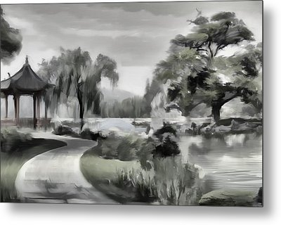 Peaceful Garden Metal Print by David Ridley