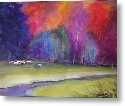 Peaceful Pastoral Sheep Metal Print by Therese Fowler-Bailey