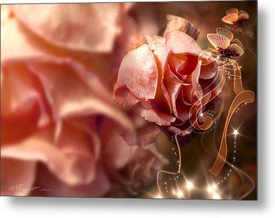 Peach Roses And Ribbons Metal Print by Svetlana Sewell