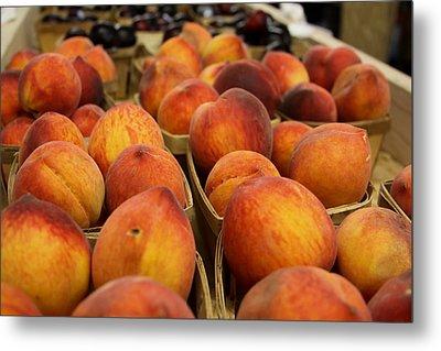 Peaches Ala Mollys Market Metal Print by Theresa Johnson