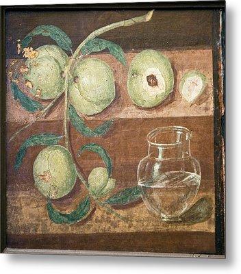 Peaches And A Glass Jug, Roman Fresco Metal Print by Sheila Terry