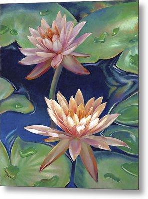 Peachy Pink Nymphaea Water Lilies Metal Print by Nancy Tilles