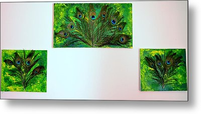 Peacock Feather Trio Metal Print by Evelyn SPATZ