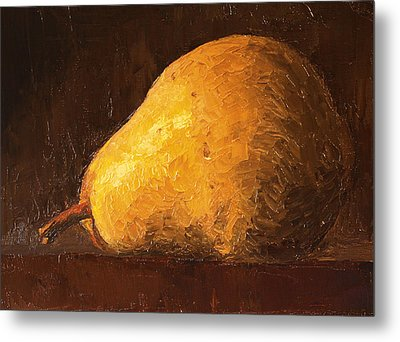 Pear By Knife Metal Print