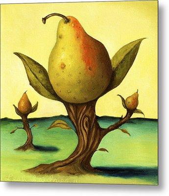 Pear Trees 2 Metal Print by Leah Saulnier The Painting Maniac