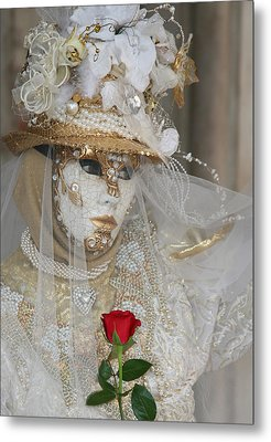 Pearl Bride With Rose 2 Metal Print by Donna Corless