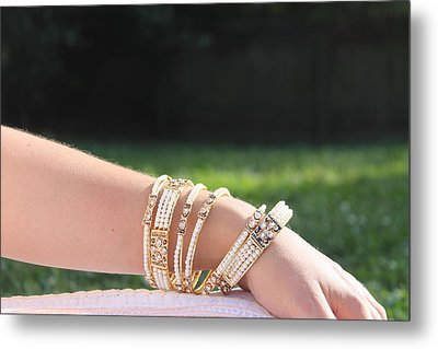 Pearl Of India Bangles Metal Print by Courtney Hancock