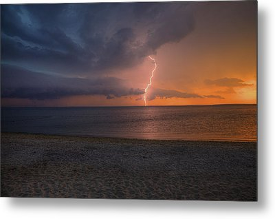 Peconic Bay Lightening Metal Print