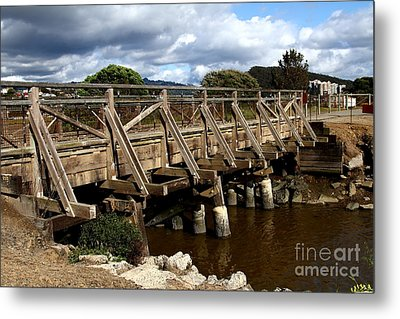 Pedestrian Bridge At Point Isabel In Richmond California . 7d15083 Metal Print by Wingsdomain Art and Photography