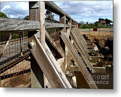 Pedestrian Bridge At Point Isabel In Richmond California . 7d15084 Metal Print by Wingsdomain Art and Photography