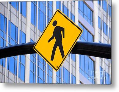 Pedestrian Crosswalk Sign In Business District Metal Print by Gary Whitton