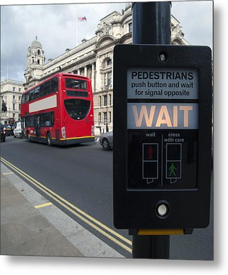 Pedestrian Traffic Controls On The Side Metal Print by Marlene Ford