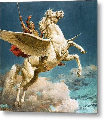 Pegasus The Winged Horse Metal Print by Fortunino Matania