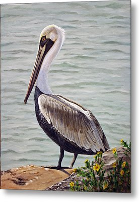 Metal Print featuring the painting Pelican On The Waterway by Jimmie Bartlett