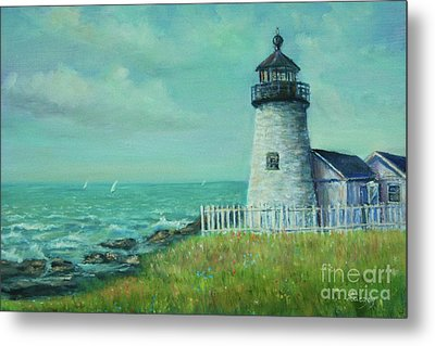 Metal Print featuring the painting Pemaquid Point Lighthouse by Katalin Luczay