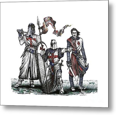 Pen And Ink Drawing Of Templaries  Metal Print by Mario Perez