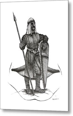 Pen And Ink Drawing Of The Guardian Metal Print by Mario Perez