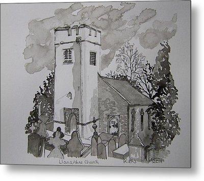 Pen And Ink-llanarthne Church-01 Metal Print by Pat Bullen-Whatling
