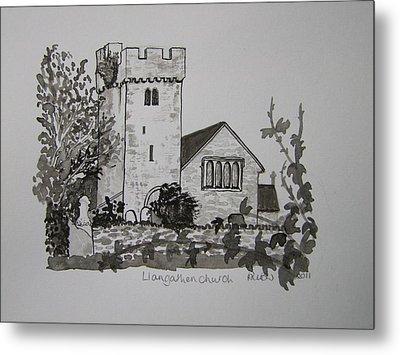 Pen And Ink-llangathen Church-02 Metal Print by Pat Bullen-Whatling