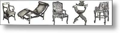 Pen And Ink Poster Of Chairs Metal Print by Adendorff Design