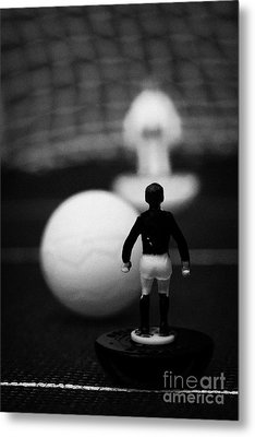 Penalty Kick Football Soccer Scene Reinacted With Subbuteo Table Top Football Players Game Metal Print by Joe Fox