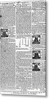 Pennsylvania Gazette, C1749 Metal Print by Granger