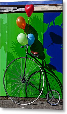 Penny Farthing And Balloons Metal Print by Garry Gay