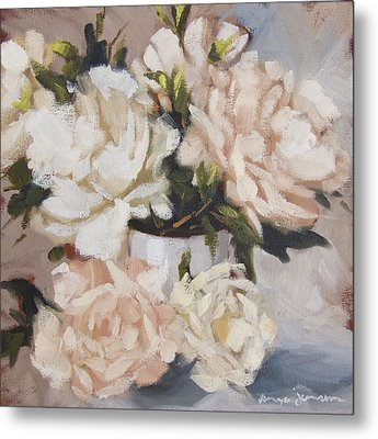 Peonies In White Vase Metal Print