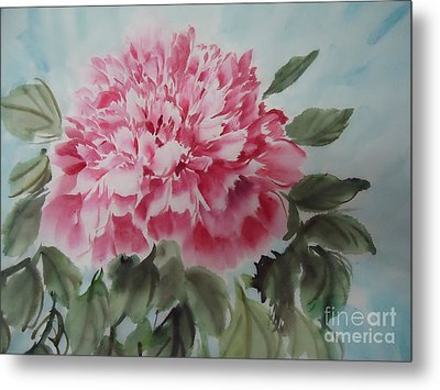 Metal Print featuring the painting Peony --2--2012 by Dongling Sun