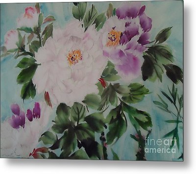 Metal Print featuring the painting Peony Qiao --1 by Dongling Sun