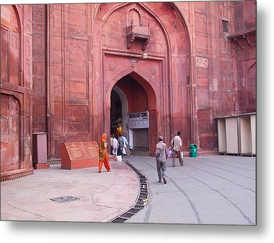 People Entering The Entrance Gate To The Red Colored Red Fort In New Delhi In India Metal Print by Ashish Agarwal
