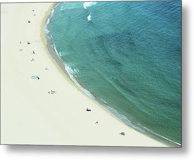 People Relaxing On Beach Metal Print by G Fletcher