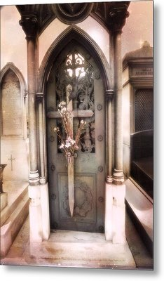 Pere La Chaise Cemetery Ornate Mausoleum Metal Print by Kathy Fornal