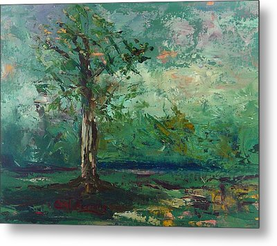 Metal Print featuring the painting Persimmon In Plein Air by Carol Berning