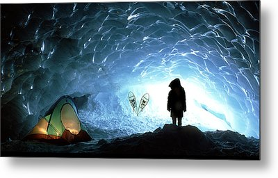 Person In Ice Cave, Appa Glacier Metal Print