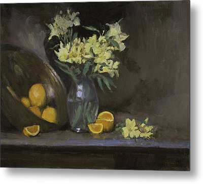 Peruvian Lilies With Oranges Metal Print by Walter Lynn Mosley