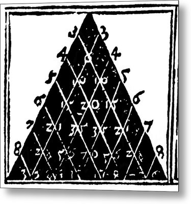 Petrus Apianus's Pascal's Triangle, 1527 Metal Print by Dr Jeremy Burgess