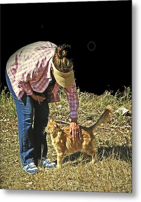 Petting The Ranch Cat Metal Print by Lenore Senior and Dawn Senior-Trask