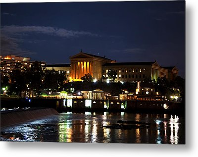Philadelphia Art Museum And Waterworks All Lit Up Metal Print by Bill Cannon
