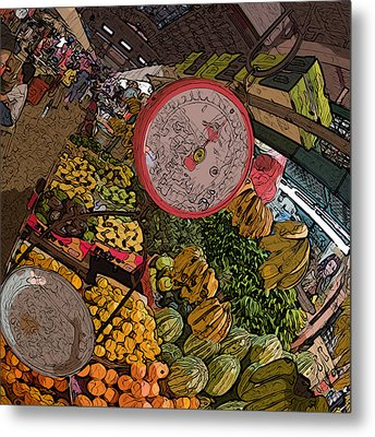 Philippines 2100 Food Market With Scale Metal Print by Rolf Bertram