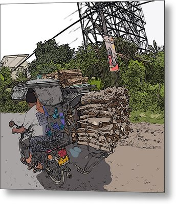 Philippines 2797 Firewood Transportation Metal Print by Rolf Bertram
