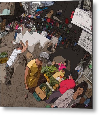 Philippines 2973 Busy Marketplace Metal Print by Rolf Bertram