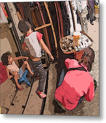 Philippines 2974 Mom With Two Kids In Market Metal Print by Rolf Bertram